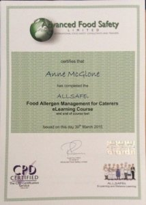Allsafe Food Allergen Management Certificate