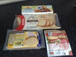 Gluten-free foods in Sardinian supermarket