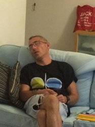 Peter asleep on sofa