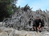 Christoph at Su Irove Longu on ride 55 to Cala Sisine, Mountain Bike Sardinia guidebook