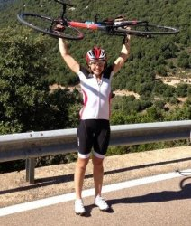 The highlight of the cycling holiday on Sardinia: Jen at the pass at Giustizieri