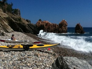 Anne kayaking Pedra Longa east coast Sardinia
