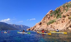 Kayaking by the Isolotto d'Ogliastra looking north up the east coast of Sardinian