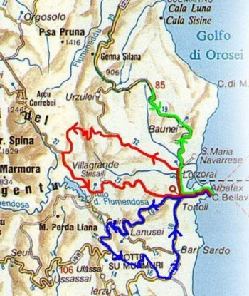 Maps of cycling routes in Ogliastra Sardinia