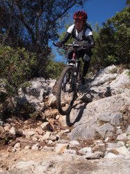 Sonja Santa Maria Freeride, a technical singletrack mountain bike descent on the east coast of Sardinia