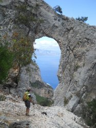 Natural arch on the way to Cala Mariolu
